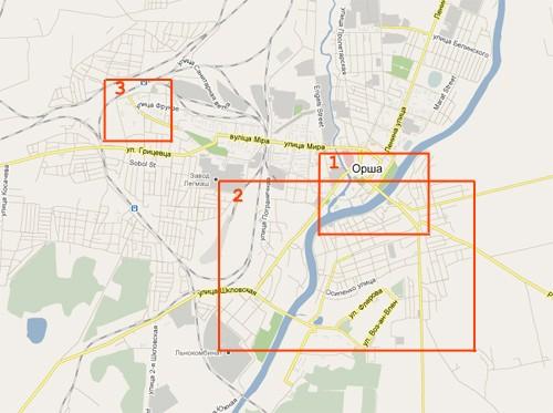 Центр Орши,Днепр и железнодорожный вокзал на общей карте Орши.